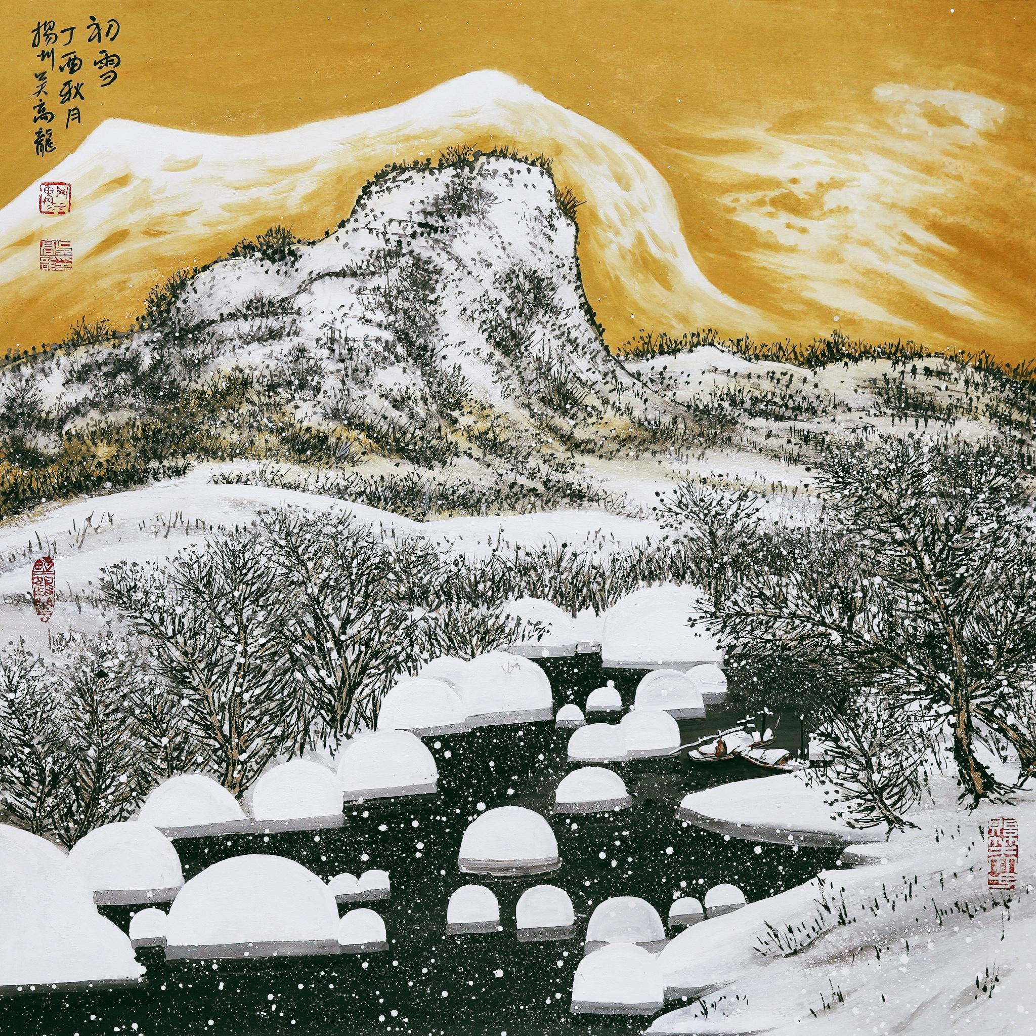 吴高龙国画《初雪》