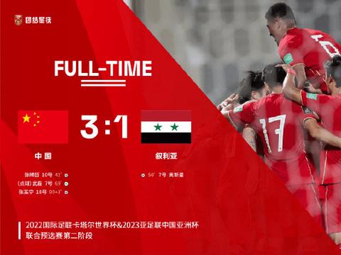 运动保祝贺国足3:1战胜叙利亚晋级12强赛