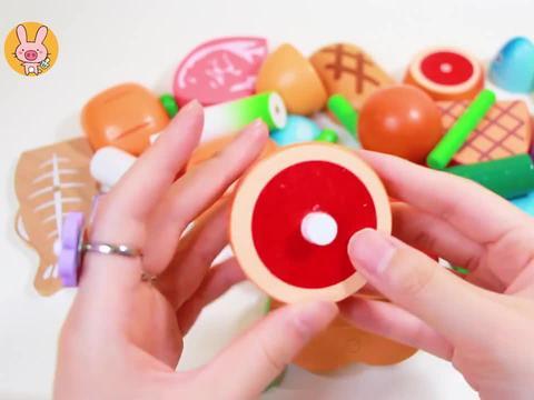 果蔬切切乐玩具:你能从积木碎片里拼出大鸡腿吗?