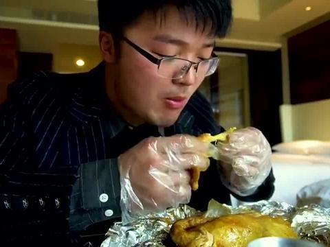 大sao在酒店点窖鸡,配大蒜和可乐也太爽了