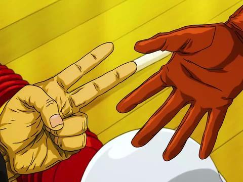 一拳超人:琦玉跟邦古玩猜拳,输了被敲头,琦玉只需要赢一次!