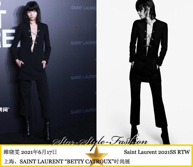 雎晓雯身着saint laurent2021春夏系列超深V领黑色裤装亮相
