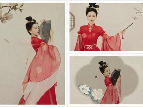 周大生品牌代言人Angelababy出席百度潮盛典,红衣造型美艳动人