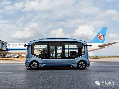 宇通无人驾驶摆渡车在长沙黄花机场试运行