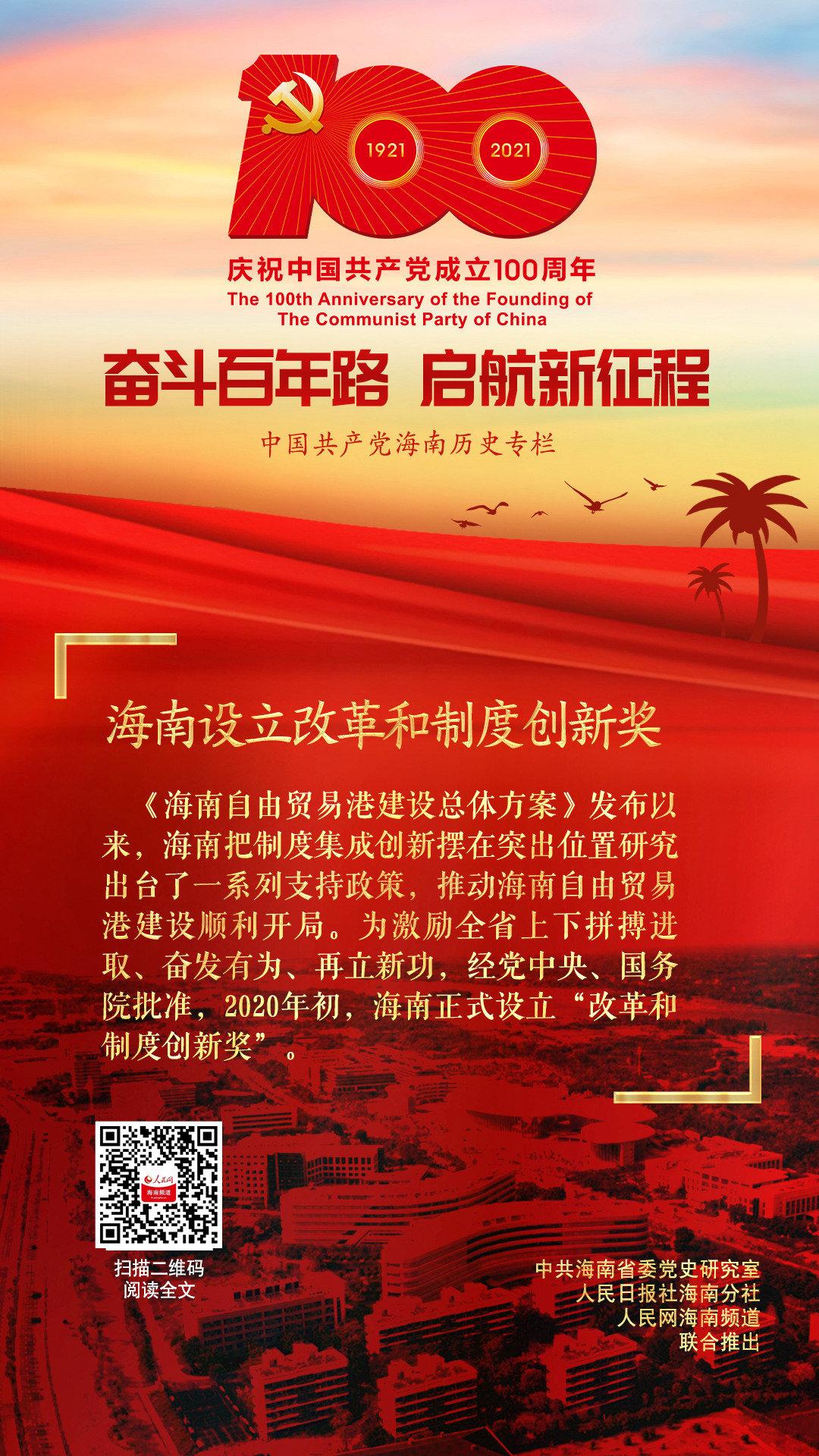 海南党史百件大事 第87集|海南设立改革和制度创新奖