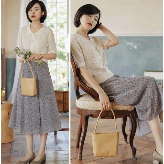 40岁女人夏季都在穿针织衫+半身裙,减龄不说还显气质,从骨子里透着优雅!