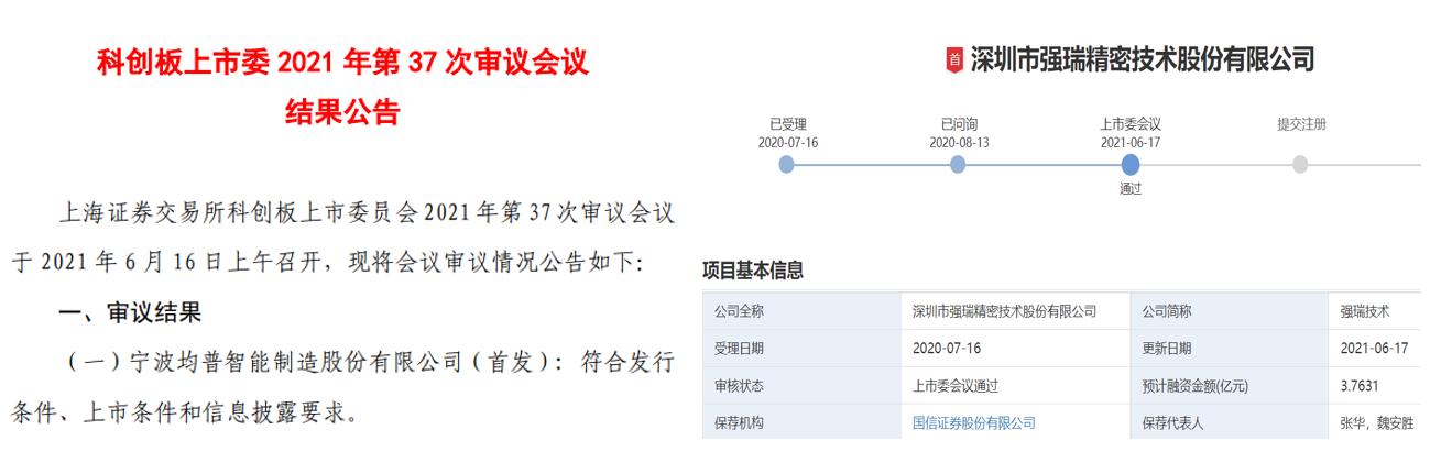 均普智能 / 强瑞技术IPO联袂过会,元禾璞华再迎投资收获