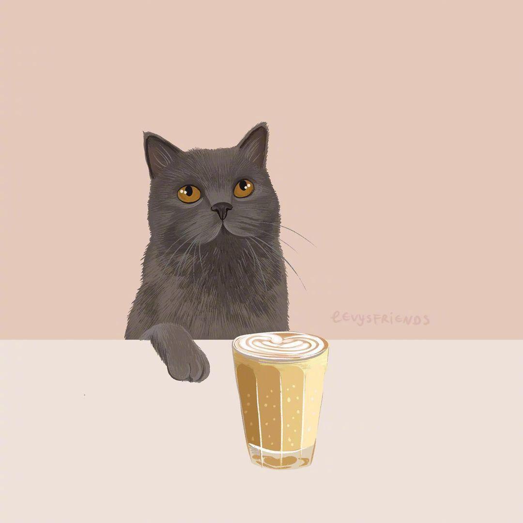 猫咪主题治愈插画