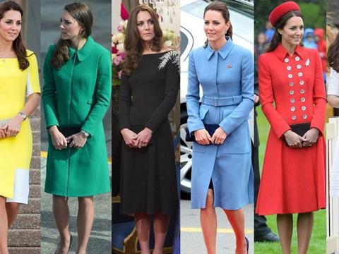 """凯特王妃的穿搭真高级!一身淡蓝色""""职场风""""连衣裙,优雅又大气"""