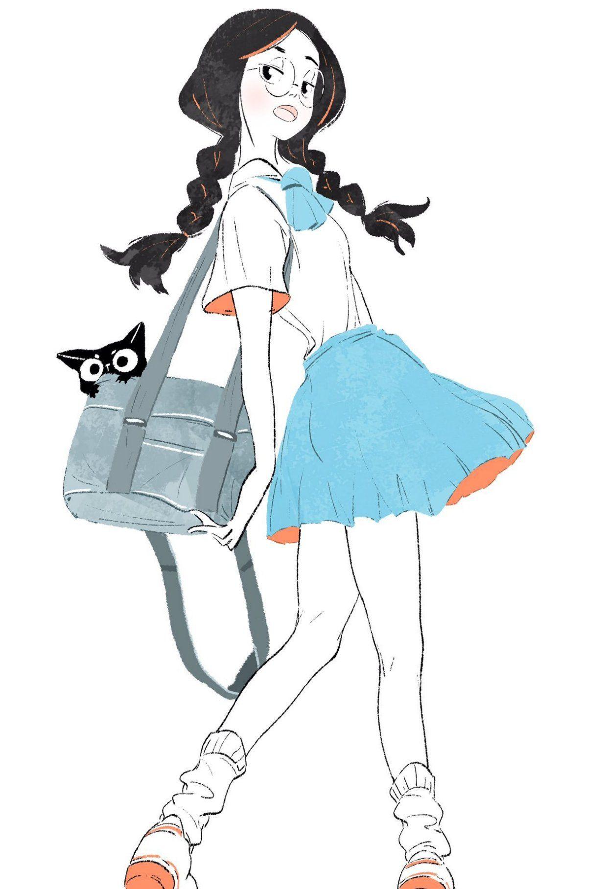 充满青春风的运动少女手绘插画,人物个性鲜明