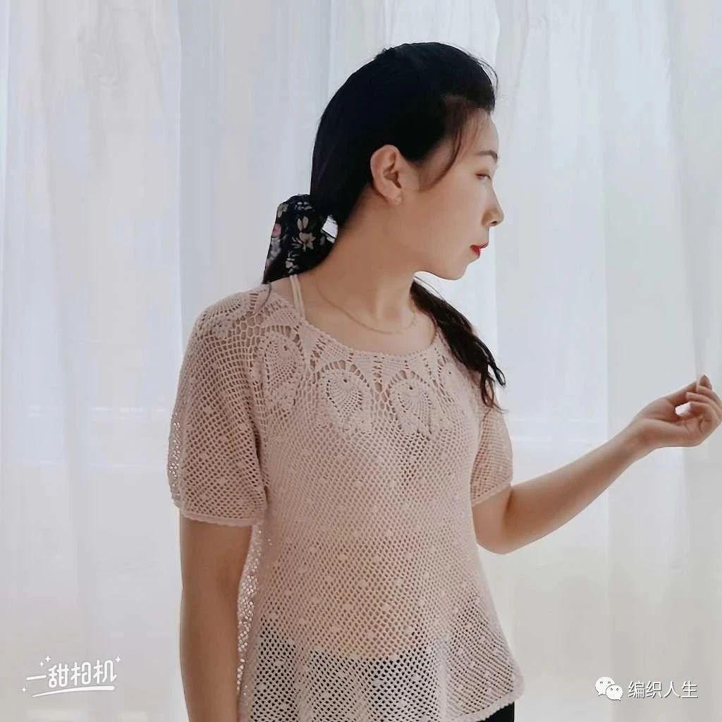 新手友好,玫瑰:细针细线钩编的仙气精致套头衫(有编织图解)