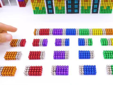 手工巴克球教程,用彩色巴克球建造彩虹宠物乐园,小宠物超喜欢呢