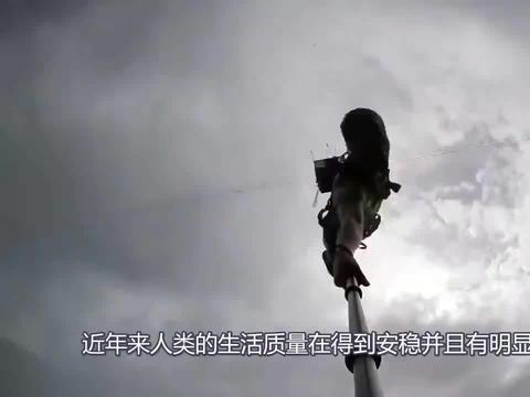 美女第一次挑战100米高空蹦极,就遇上这个