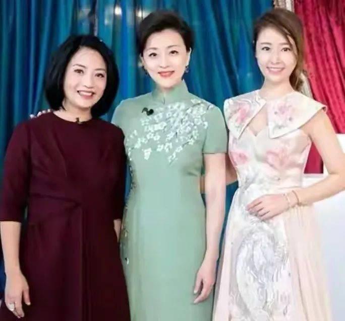 杨澜穿绿旗袍合影,脚上虽有老态但气质好,跟林心如像是同龄人!