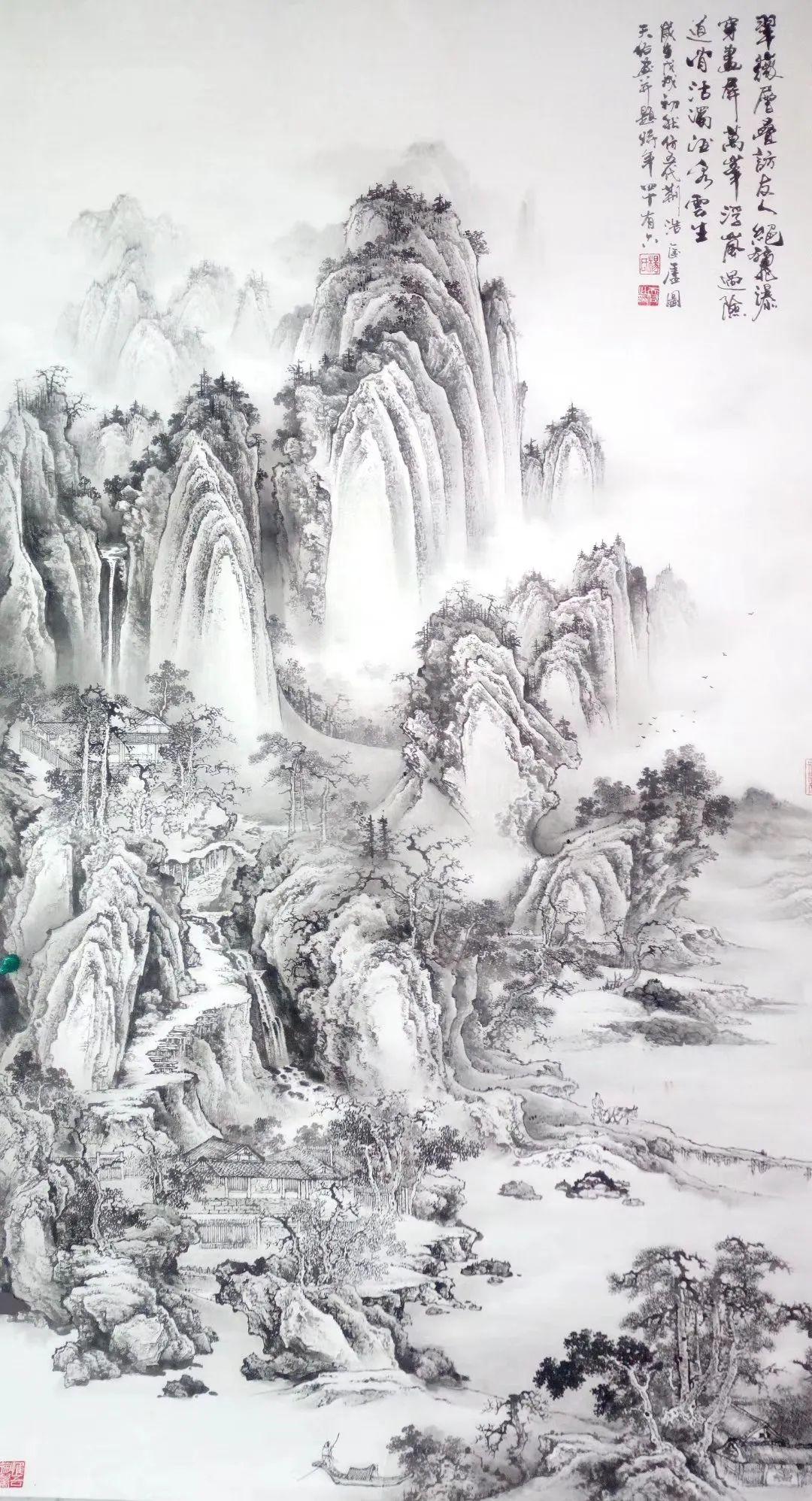杨天佑仿古山水画与题诗欣赏:不负好时节,醉意踏歌行