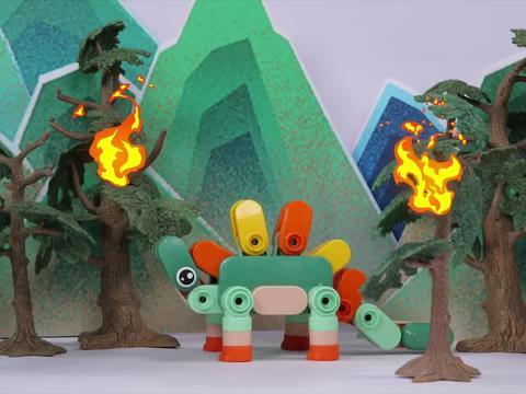 甲龙被突发森林大火困住,消防车及时赶来救援