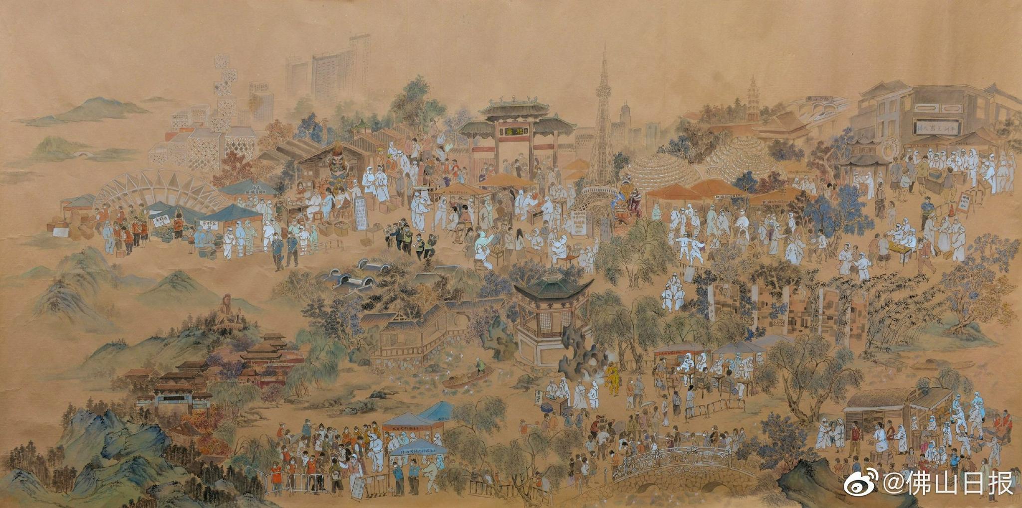 """佛山""""战疫上河图""""登上央视,一起来认识这位90后禅城画家"""