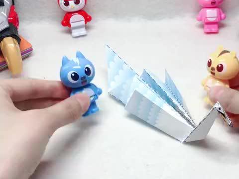 迷你特工队学折纸,优雅的白天鹅,是怎样诞生的呢?