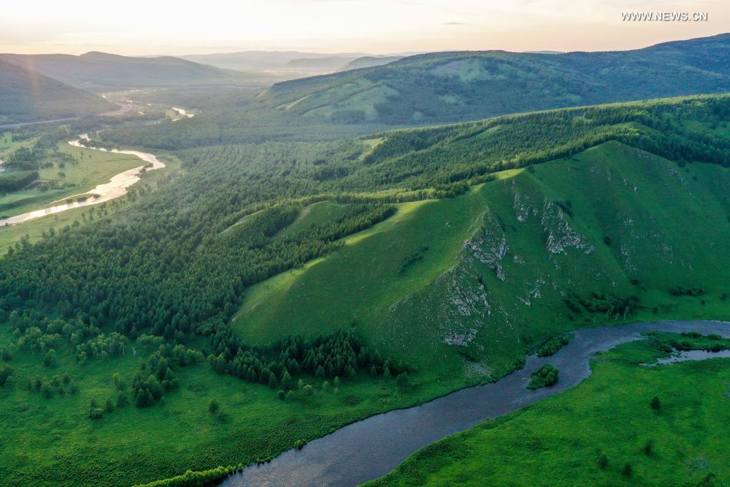 Aerial photo taken on July 14, 2021 shows a view of the Arxan National Forest Park, north China's Inner Mongolia Autonomous Region. (Xinhua/Peng Yuan)