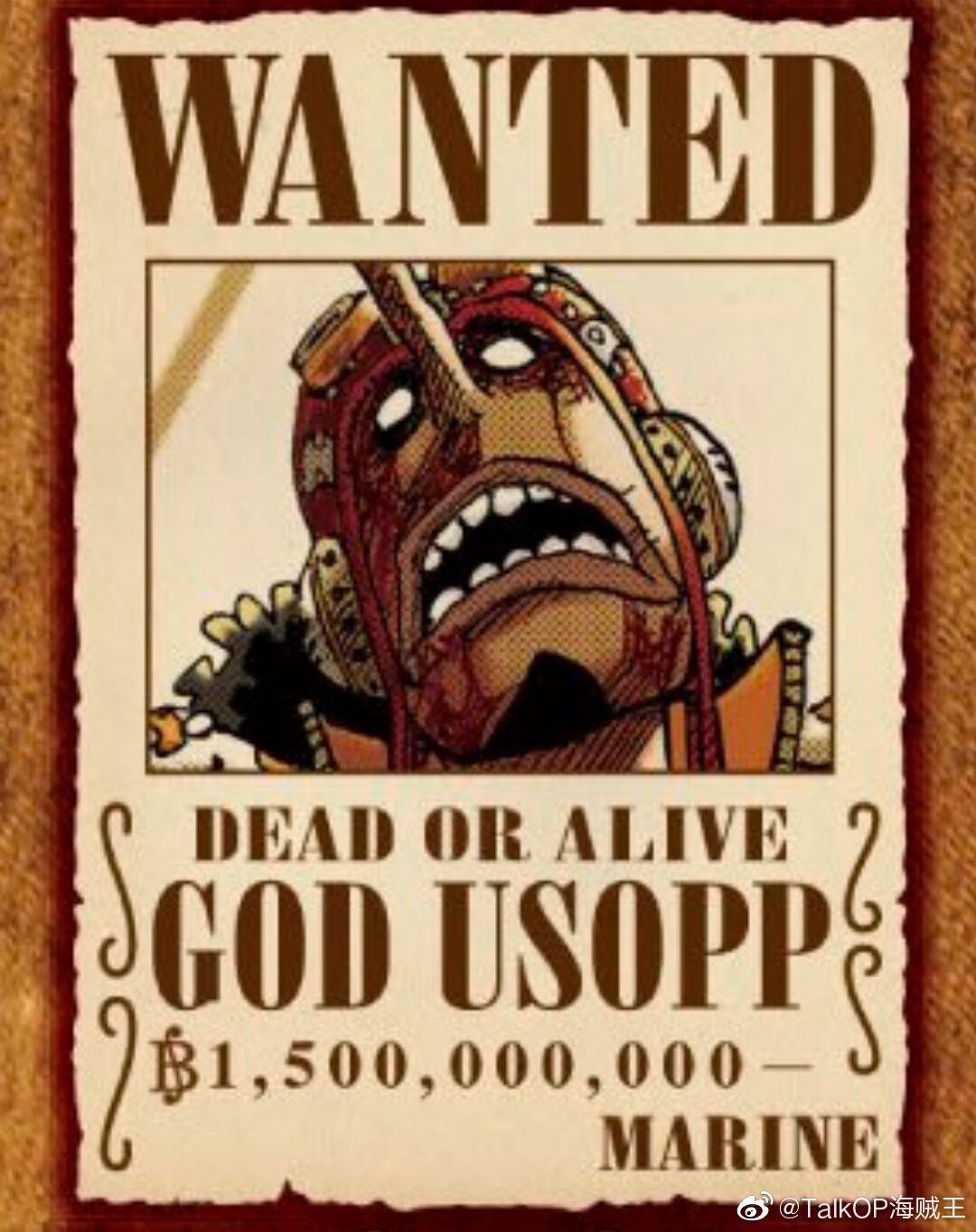 官方在海贼王100卷推特活动图上把GOD乌索普的赏金写错了