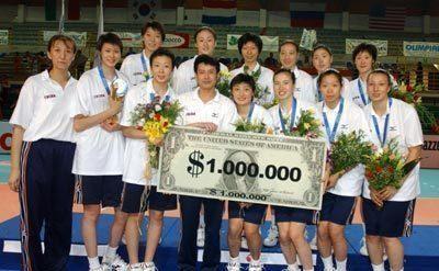世界女排大奖赛冠军奖金1000000美金,中国女排人手1万人民币