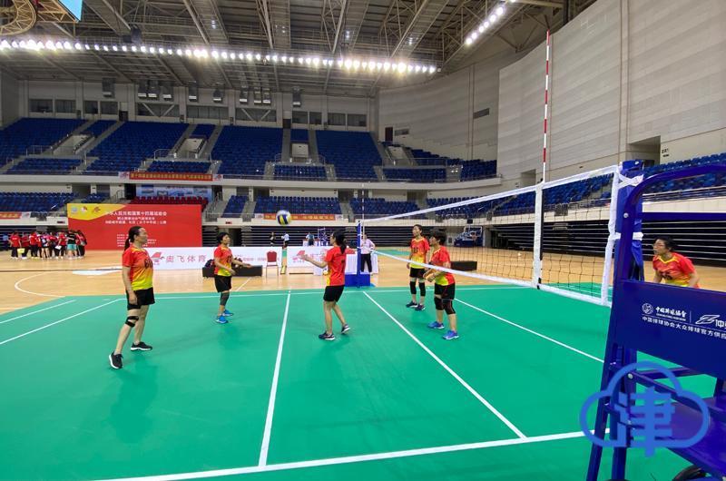 全运会群众比赛气排球项目准备就绪 天津队抵达赛区