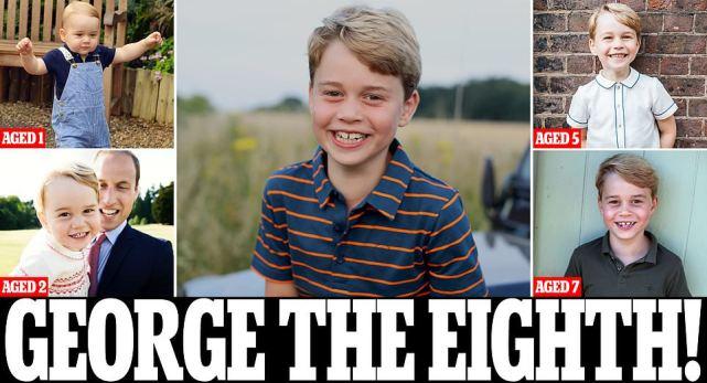 英王室官宣乔治小王子8岁生日新照!成迷你版威廉,颜值输给路易