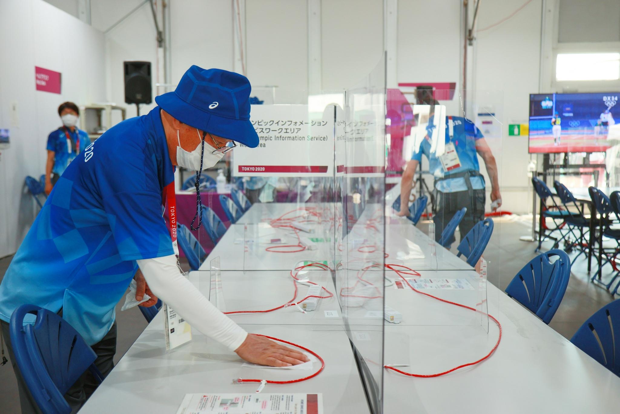 奥运赛场的志愿者。
