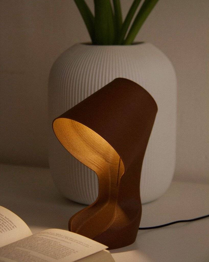 Table lamp 3D printed with orange peel: a practitioner of environmentally friendly life