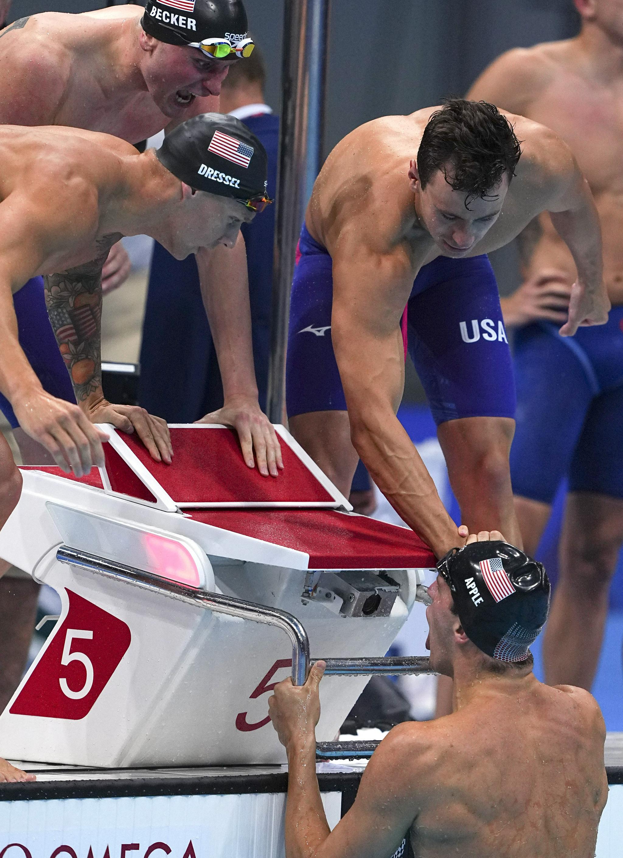 游泳——美国队夺得男子4X100米自由泳接力冠军
