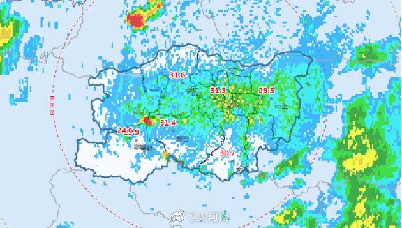 郑州市气象台2021年7月27日18:30发布临近预报