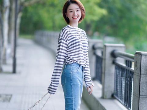 小个子女生如何穿显高?条纹衫配牛仔裤显瘦还提升气质,高级洋气