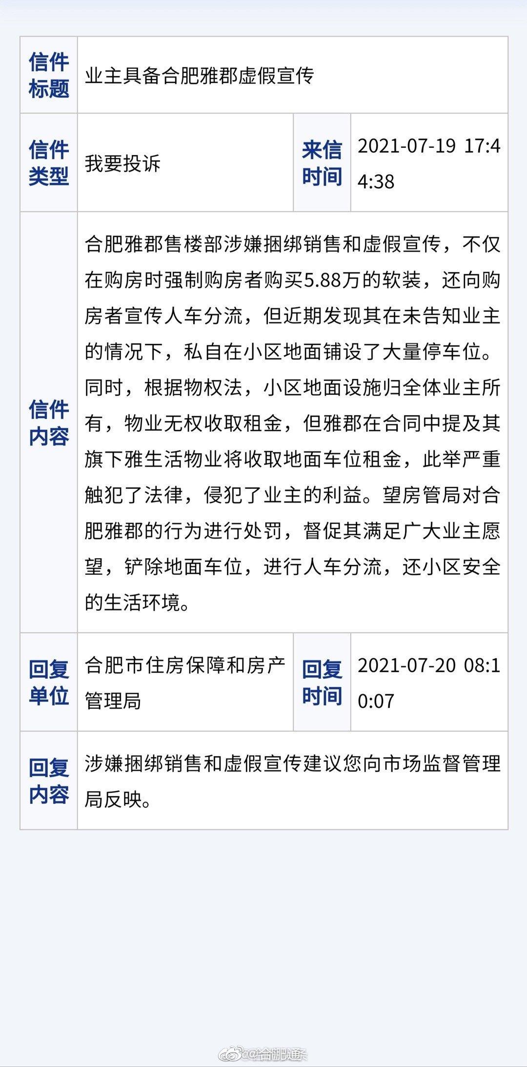 网友举报雅居乐合肥雅郡售楼部涉嫌虚假宣传