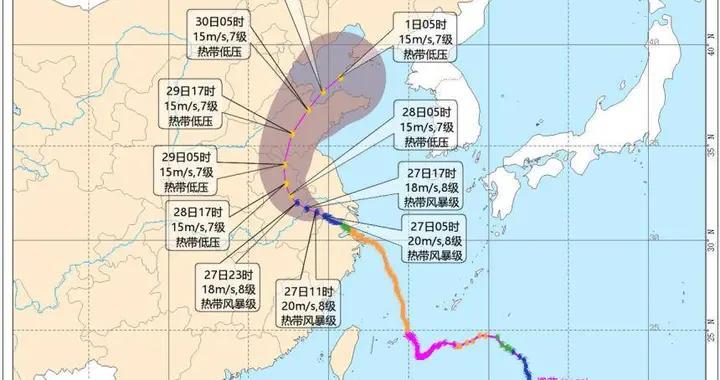 """""""烟花""""进入溧阳,预计27日中午前后台风中心经过南京南部"""