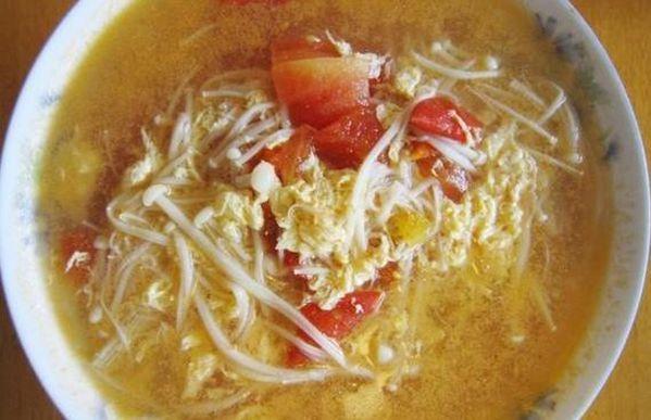 番茄金针菇蛋花汤的做法!