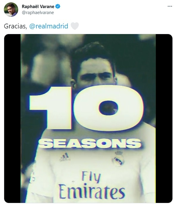 瓦拉内推特发皇马生涯视频进行告别:10年18冠,出场360次