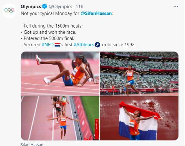 国际奥委会在官方社交媒体账号上图文回顾哈桑的8月2日。