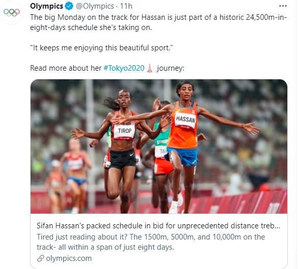 国际奥委会统计,哈桑最多将在本届奥运会上跑24500米。
