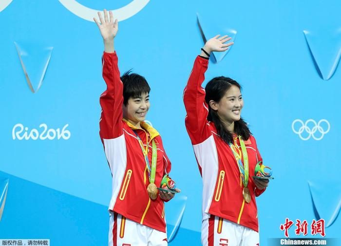 2016里约奥运跳水女子双人十米台,中国选手陈若琳/刘惠瑕以354.00分获得冠军。