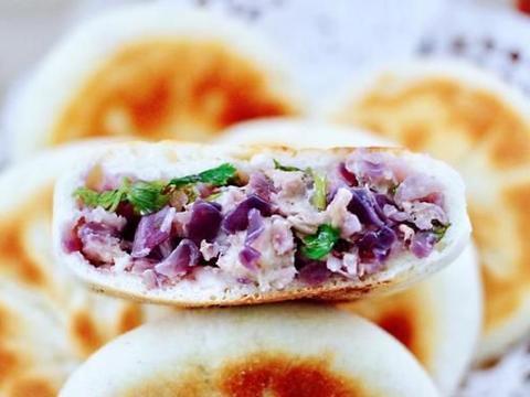 减肥人士福利,紫甘蓝鸡肉馅饼,外皮香酥,肉质细嫩,关键不长肉