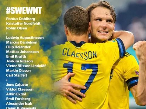 瑞典大名单公布:林德洛夫、库卢领衔,丹尼尔森在列