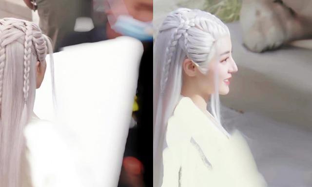 迪丽热巴安乐传白龙女银白发造型 迪丽热巴安乐传最新路透