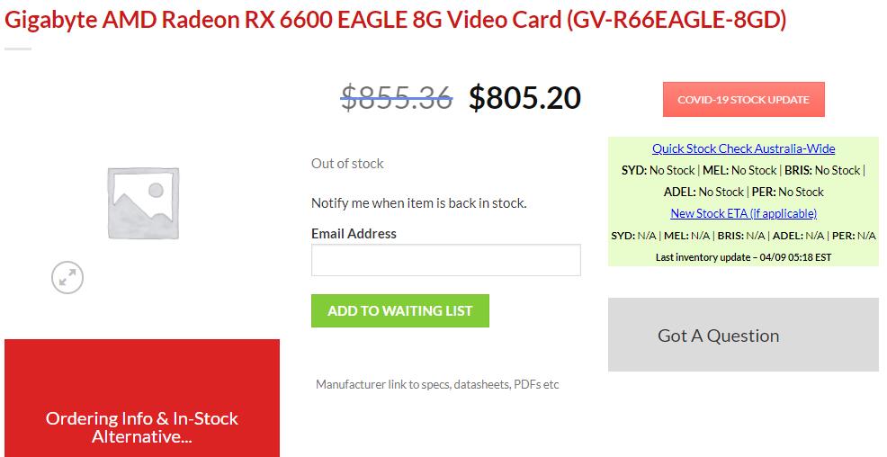 AMD RX 6600 非 XT 显卡上架电商,约合 3870 元