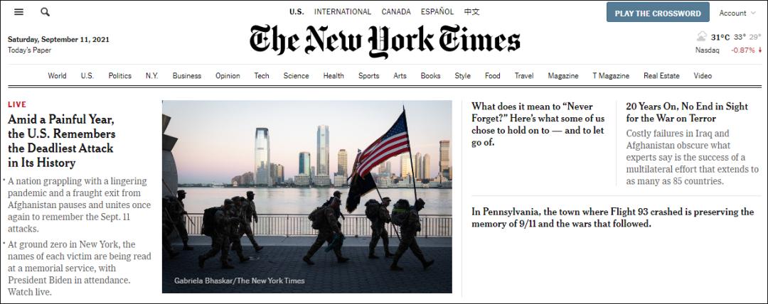 《纽约时报》网站首页截图