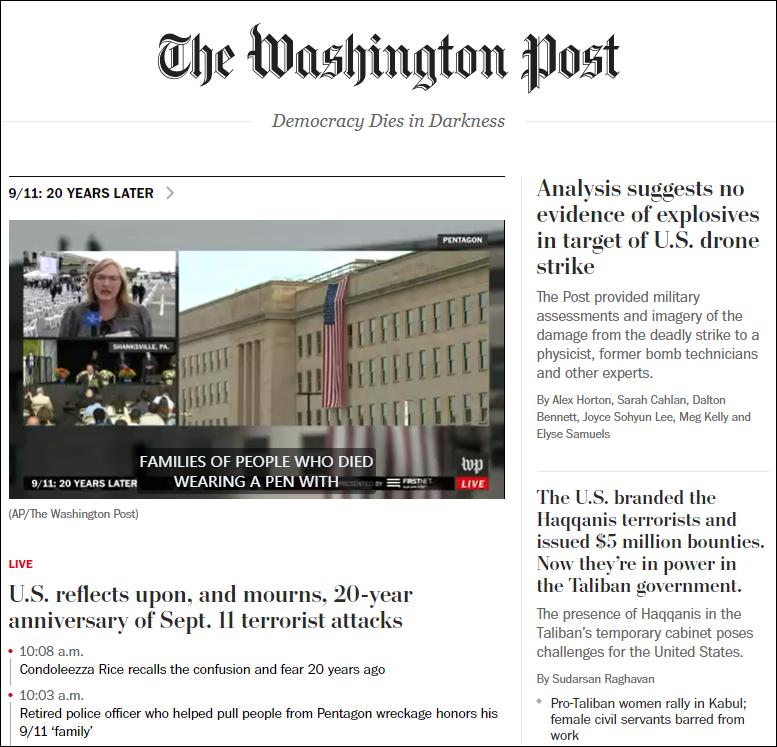 《华盛顿邮报》网站首页截图