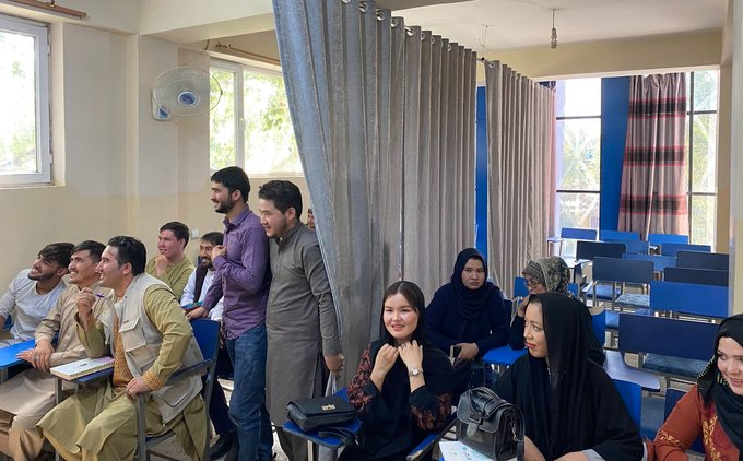 Segregated teaching on the campus of Afghan University