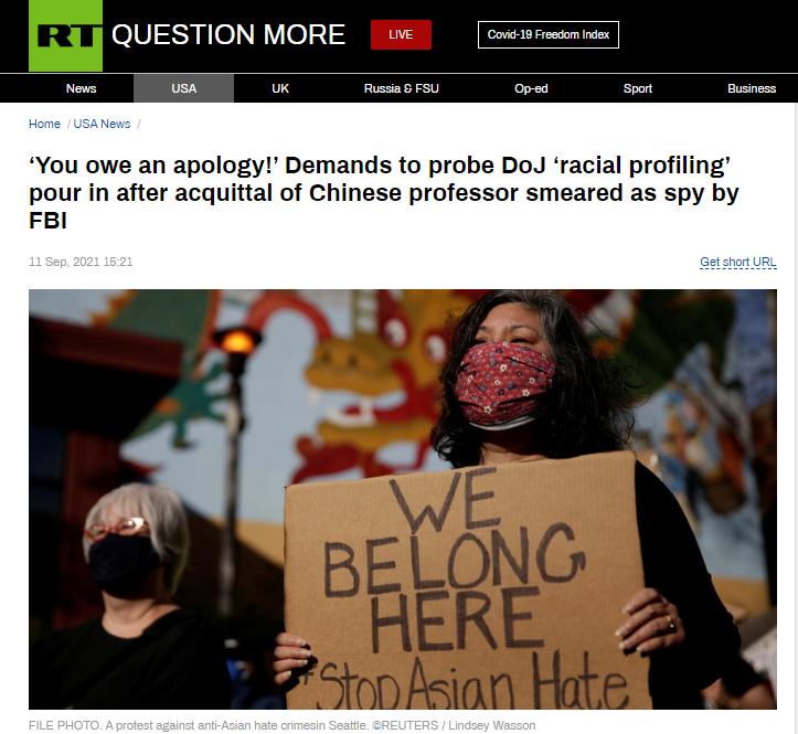 "RT:""你应该致歉!""在被FBI诬蔑为""特工""的一名华裔传授被判无罪后,<a href="