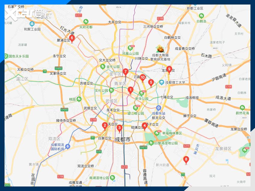 特斯拉在成都布局了9家体验中心和一家交付中心[截图来源于百度地图]