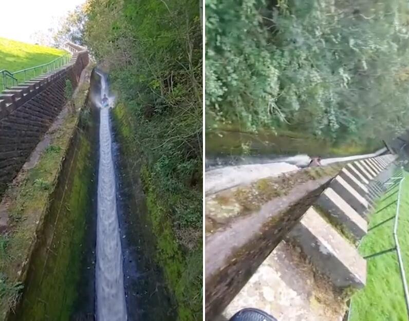 《【二号站主管】英国青年为寻刺激乘橡皮艇从狭窄水道滑下 场面惊险遭批》