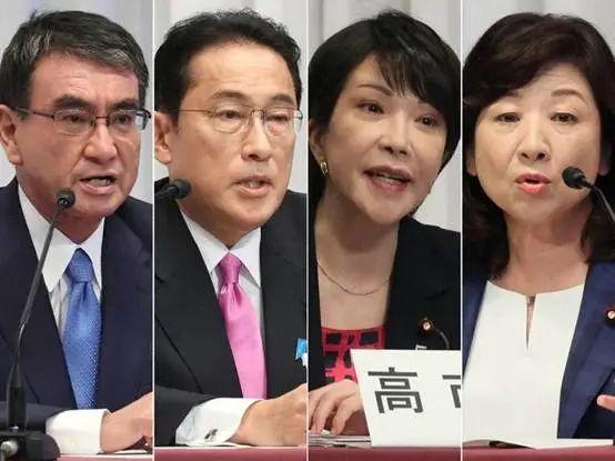 (从左至右)自民党总裁候选人河野太郎、岸田文雄、高市早苗、野田圣子 资料图